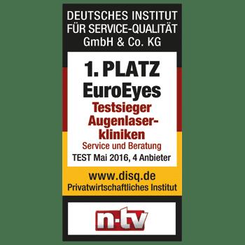 1. Platz - EuroEyes - Testsieger Augenlasern - Beste Augenlaser-Kliniken