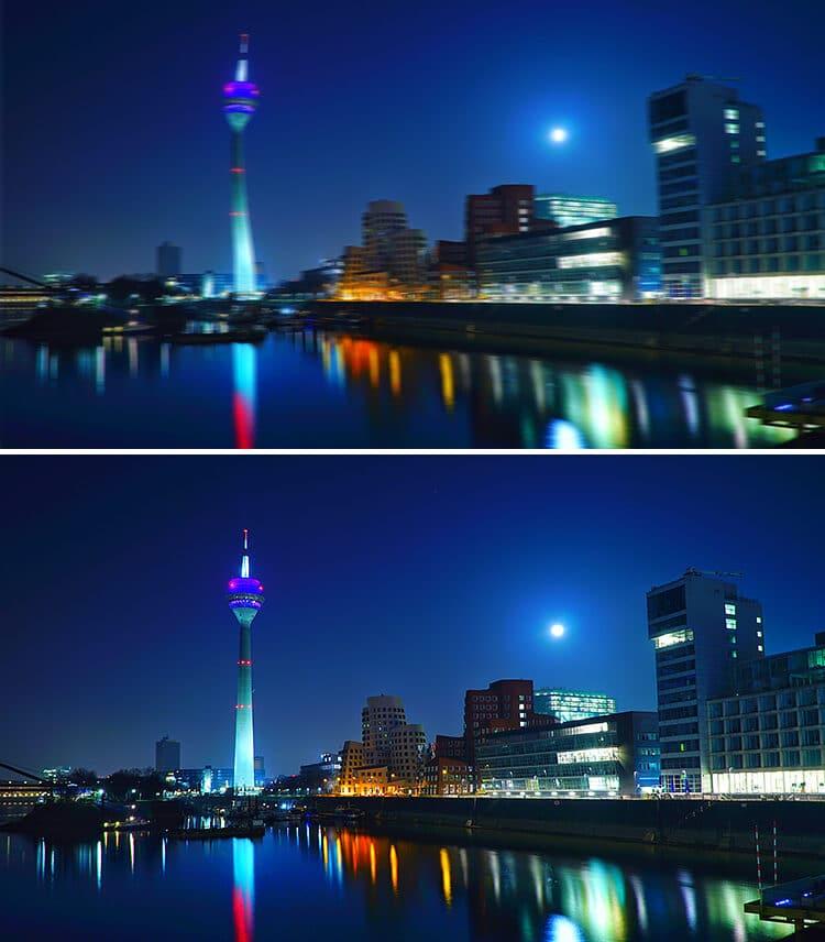 Stadt bei Nacht mit und ohne torische Linse